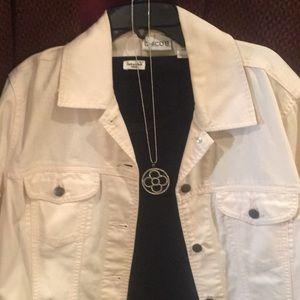 Jacket-Light Pink Jean Jacket, Size 1=(8), Chicos
